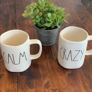 "RAE DUNN mug set ""crazy"" and ""calm"""